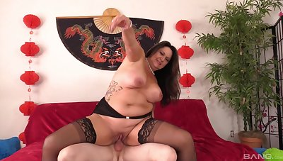 Chubby mature loves riding the locate as hard as possible