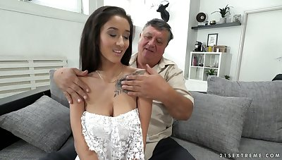 Old sugar daddy enjoys fucking lovely brunette babe with yummy boobies Darcia Lee