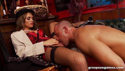 Amy Azzura coupled with Anna Lovato fucked roughly a nasty massive group sex