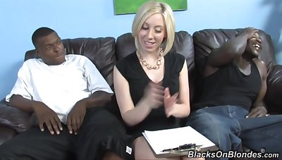interracial triumvirate with horny blonde old bag and two black muscled studs