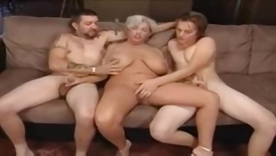 Chubby granny and duo horny satyrs