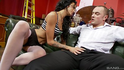 Bench cock sucking and pussy penetrating with Stacey Lacey