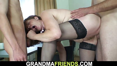 Hairy aged mature takes one cocks from both ends