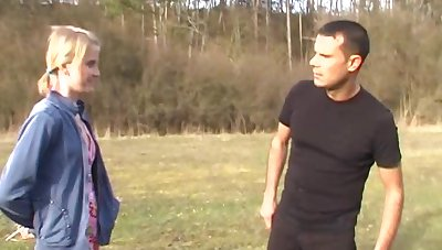 Outdoor pussy poking in the local woods encircling cum in brashness for Katerina