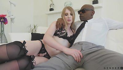 Off colour white transgender Janelle Fennec gets anus blacked for rub-down the first lifetime
