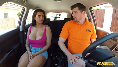Busty wife goes full mode on be transferred to driving instructor's titbit dong