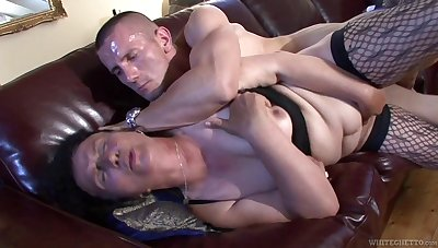 Ugly mature whore fucks a man that's younger than will not hear of and she's so nasty