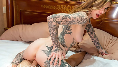VR BANGERS Tattooed Join in matrimony Gets Fucked Hard by Plumber