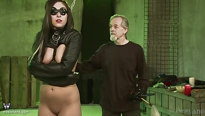 costumed Jade Thomas gets her pussy pleased by an older dude